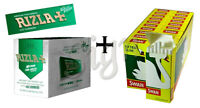 NEW 600 RIZLA GREEN ROLLING PAPERS & 600 SWAN EXTRA SLIM FILTER TIPS ORIGINAL