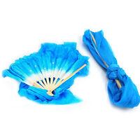 1.8m Belly Dancing Silk Fan Chinese Handmade Bamboo Veils Dance Long Fans Blue