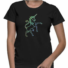 Ladies Silver Sparkly Unicorn- Black T-Shirt size Fitted Medium Womens Girls
