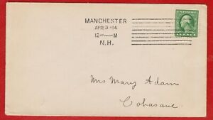 UNITED STATES MACHINE CANCEL MANCHESTER. N.H. 1914 ON  LOCAL COVER