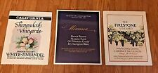 LOTS OF 3 VINTAGE WINE LABELS PROMO POSTERS CALIFORNIA 80'S NEW OLD STOCK MINT