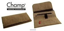 Champ Natural Denim Roll Up Zip Rolling Tobacco Pouch for 50g + Paper Slot NEW