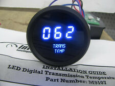 BLUE LEDs Digital Transmission Temperature Gauge Intellitronix Trans Black Bezel
