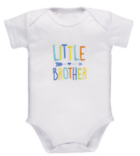Size 3-6 Months LITTLE BROTHER Embroidered on White Ganz Boy's Diaper Shirt