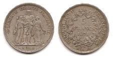 Lot pièce 5 Francs Hercule 1871 K argent SUP très très rare qualité