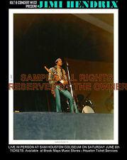 Jimi Hendrix Texas Sam Houston Colism. 1970 L.E. Photo & Repro Ticket C.O.A. Ex