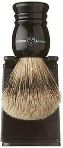 Edwin Jagger English Imitation Ebony, Large, Super Badger Shaving Brush + Stand