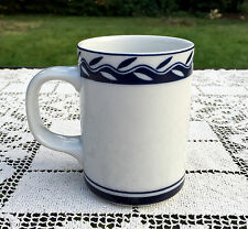 Dansk Concerto Allegro Accent Coffee Mug White w/Blue Leaves Trim Sri Lanka VGC
