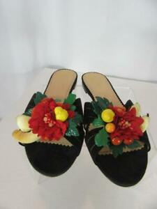 CHARLOTTE OLYMPIA Black Suede TROPICAL SLIDES Floral Accent Slides Flats 38-8