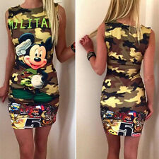 Women Mickey Camo Tunic Mini Dress Ladies Military Party Bodycon Dress Long Tops