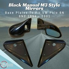 Black Manual M3 Style Mirrors & Base Plates To Fit VW Polo 6N 6N2 1994 - 2001