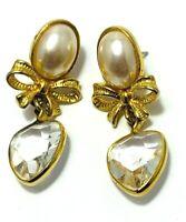 Vintage Faux Pearl Earrings Gold Tone Bow Lucite Heart Dangle Drop PIerced