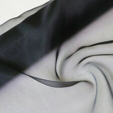 5Momme 100% Pure MULBERRY SILK Organza Fabric...45cm Long X 100cm Wide ...Black