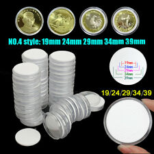 50Pcs 19/24/29/34/39mm PS Acrylic Adjustable Coin Case Capsules Holders Storage