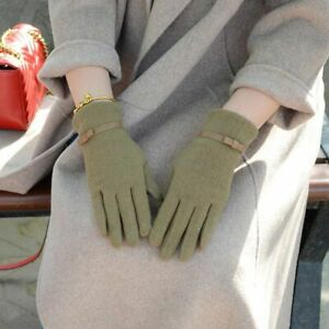 Wool Gloves Touch Screen Winter Warm Cashmere Full Finger Leather Dotted