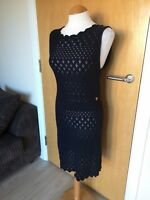 Ladies MAJE Dress Size 2 10 Black Knit Open Weave Bodycon Party Day Smart