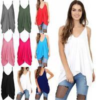 Ladies Womens Mini Vest Dress Cami Strappy Lagenlook Italian Drape Baggy Dress