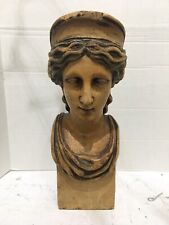 Rare Antique Wood Architectural Figural Face Lady Ships Maiden