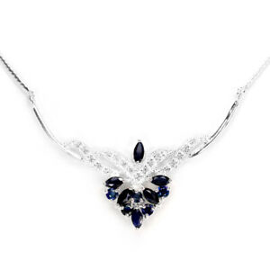 GENUINE AAA BLUE SAPPHIRE & WHITE CZ STERLING 925 SILVER NECKLACE 18.25 INCH.