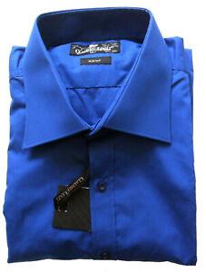 Men's Plain Shirt Blue Slim Fit Long Sleeve Sizes: L, 3XL Claudio Lugli