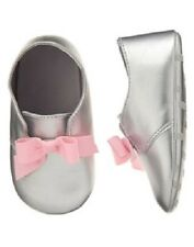 Gymboree Hoot & Hop Silver & Pink Bow Crib Shoes Infant Baby Girl Size 1 NEW