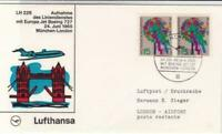 Lufthansa Boeing 727 jet to london 1965   air mail flight stamps cover ref 19767