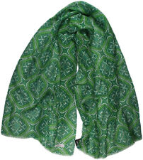KITON GREEN & BLUE PATTERN LINEN/COTTON SCARF-MADE IN ITALY