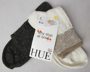 Hue Women's 2 Pack Shortie Boot Socks Ivory/Brown One Size
