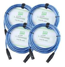4x Set Profi DJ PA Mikrofon Kabel 5m Patch Cable XLR Male Female metallic blau