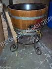 Frontgate Beverage Whiskey Wine Beer Cask Wood Barrel Holder Cooler Ice bucket