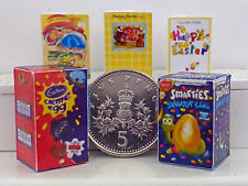 DOLLS HOUSE MINIATURE TWO EASTER EGGS & THREE EASTER CARDS Handmade 1:12th scale