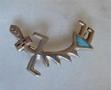 VINTAGE SILVER AMERICAN INDIAN GEOMETRIC TURQUOISE STONE DANCING LADY BROOCH PIN