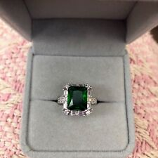 Emerald Cut 4.5 Carat Natural Emerald & Diamond Sterling Silver Ring