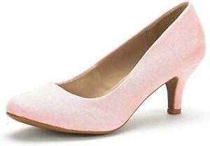 DREAM PAIRS Women Low Heel Stilettos Round Toe Slip On Pump Dress Shoes