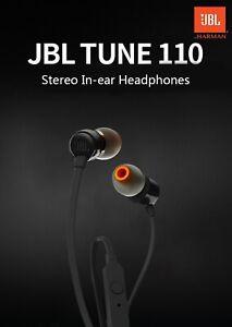 JBL T110 In-Ear Wired Headphones Music Deep Bass Earphones Headset With Mic
