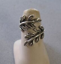 Mexican 925 Silver Taxco Oxidized Wrapped Leaf Swivels Leaves Plants Ring SZ 6.5