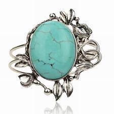 Vogue Genuine Turquoise Tibetan Silver Cameo Cuff Statement Bangle Bracelet