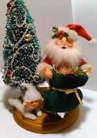 Annalee Santa Claus Christmas Tree With Elf/Pixie On Wooden Round Base 2002