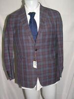 Peter Millar Newport Loro Piana Purple Window Pane Two Button Blazer 40S NWT