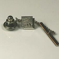 VTG Swank Tie Tack Brushed Silver Tone Square Mid Century 1960s Wedding Formal