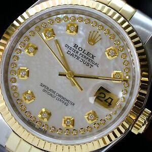 Rolex Mens Datejust Watch 36mm White MOP Diamond Dial 18K Gold Bezel