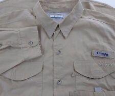 Columbia PFG Vented Fishing Shirt Khaki Long Sleeve Mens Medium (A875-B9)