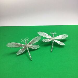 Christmas Ornament  Silver Glittered DRAGONFLYs One Pair (set) White 6""
