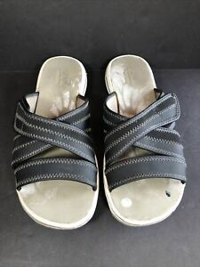 Clarks Womens Brinkley Lonna Arnie Loop & Strap Black Sz 5.5 Sandals Flip Flops