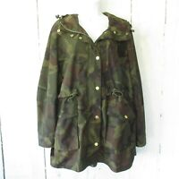 J Crew Perfect Rain Jacket XL X Large Green Camo Camouflage Utility Hood