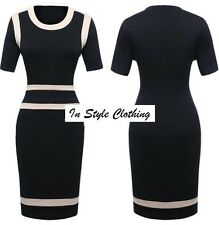 "LADIES BLACK BEIGE FITTED PENCIL DRESS SIZE 10 ""PORTIA"" WORK, COCKTAIL, EVENING"