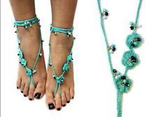 Turquoise Crochet Bohemian New Style One Pair Barefoot Sandals