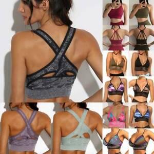 Women Yoga Sports Bra Fitness Stretch Workout Seamless Racerback Padded Tops Gym