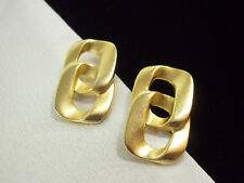 MATTE Gold Plate Intertwined SQUARES Pierced Earrings Classic Elegance Vintage