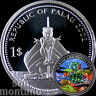 2002 Palau $1 BLOWFISH & MERMAID Marine Life Protection Copper Coin PUFFER FISH